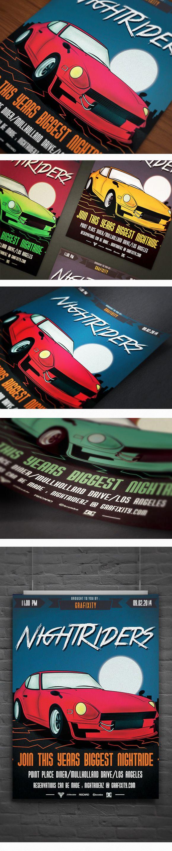 Retro Car meeting poster/flyer VI by DigitavernShop on Creative Market