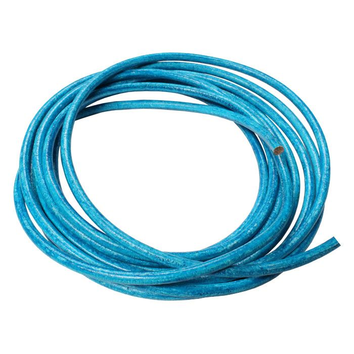 DISTRESSED TURQUOISE - 5mm Round Euro Leather Cord is genuine high quality, non-toxic, European leather and is intended for use as a component for making leather jewelry. This cord is 5mm diameter, so if your wanting to add large hole beads or use end caps, look for components that are 5.5mm inside diameter or greater for best results. This cord is soft and flexible and would be great for use on your next leather cord bracelet or necklace design.