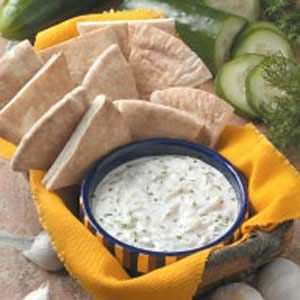 Garlic Cucumber Dip Recipe from Taste of Home -- shared by Lisa Stavropoulos of Stouffville, Ontario