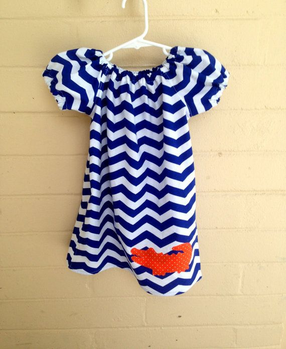 Blue Chevron dress, Gator dress, Univeristy of Florida Dress, UF Dress, Infant, Toddler and Girls sizes from 6/12 months to girls size 12