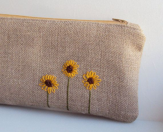Sunflower Burlap Zipper Pouch  Hand by JuneberryStitches on Etsy, $26.00