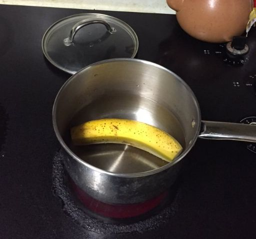 Cut the ends off a banana and put it in boiling water. 10 minutes later, you'll have the best sleep aid around.