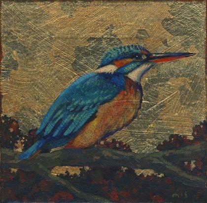 "Three Little Birds. Kingfisher. Acrylics and gilding on canvas. 6"" x 6"""