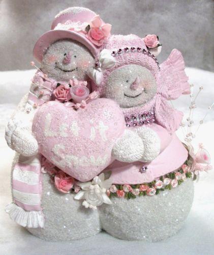 Shabby Cottage Chic Pink & White Snowman Couple Figurine - Let It Snow