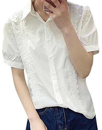 おすすめ (フムフム) fumu fumu トップス レディース シャツ 白 レース 半袖 ブラウス 花柄 3色 カットソー 刺繍 ライン