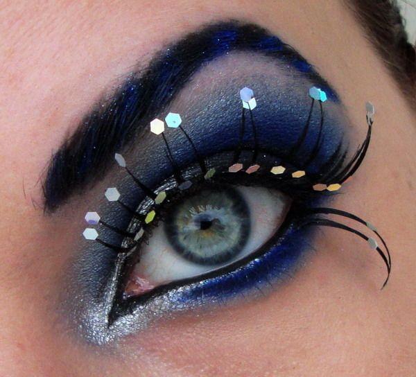 You're like a laserlightColors Makeup, False Eyelashes, Dramatic Makeup, Eye Makeup, Beautiful, Parties Makeup, Hexagons, Blue Eyeshadows, Glitter Eye