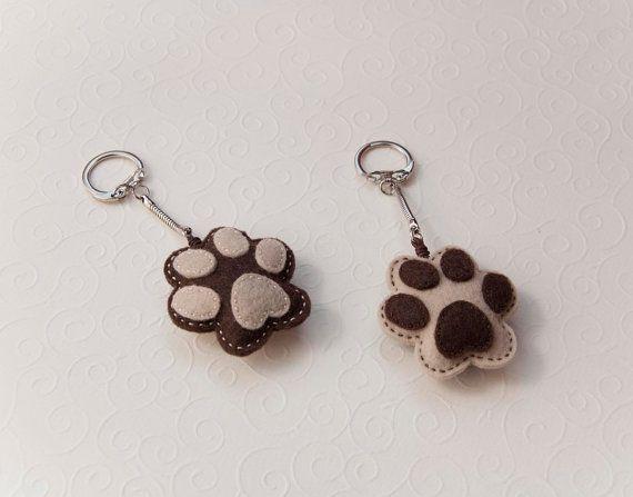 Felt dog paw - key chain pendant. $12.00, via Etsy.