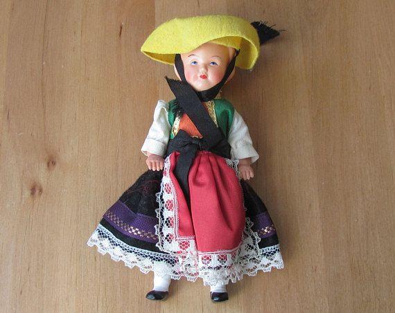 "Vintage Doll; Souvenir Doll in Folk Costume; H 6""/15cm  Plastic Doll; Vintage Female Doll in Folk Costume"