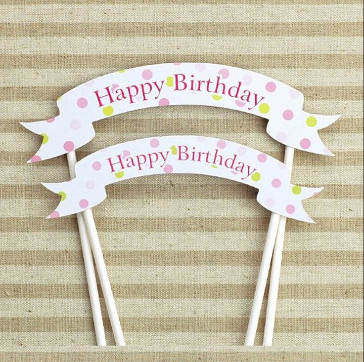 Aliexpress.com : Buy 1pcs handmade happy birthday cupcake toppers ...
