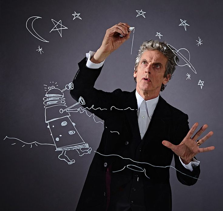 "Stuart Manning: ""An outtake from the PeterCapaldi DoctorWho shoot I art directed for RadioTimes.  Peter insisted on doing a sketch for the Dalek to work out how to draw the arms correctly as a mirror image. Great pics by Richard Grassie."