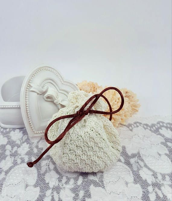 Crochet gift bag ivory jewelry pouch ivory favor bag