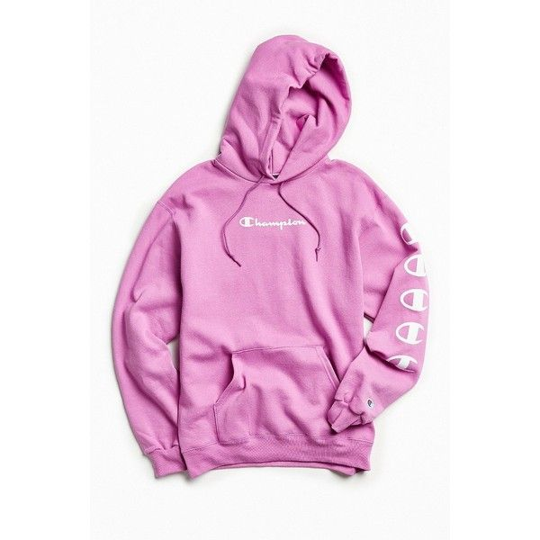 Champion Repeat Eco Hoodie Sweatshirt ($64) ❤ liked on Polyvore featuring tops, hoodies, hoodie pullover, pullover hoodie, pink hooded sweatshirt, sweater pullover and pullover hoodies