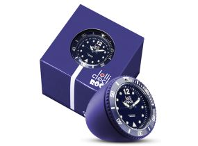 Lolliclock Rock Dark Blue. The ultimate desk accessory or gift. 44mm, ABS Polycarbonite case + PC Rock backcover, 1ATM, PC21S movement. Buy online at www.lolliclock.com.au