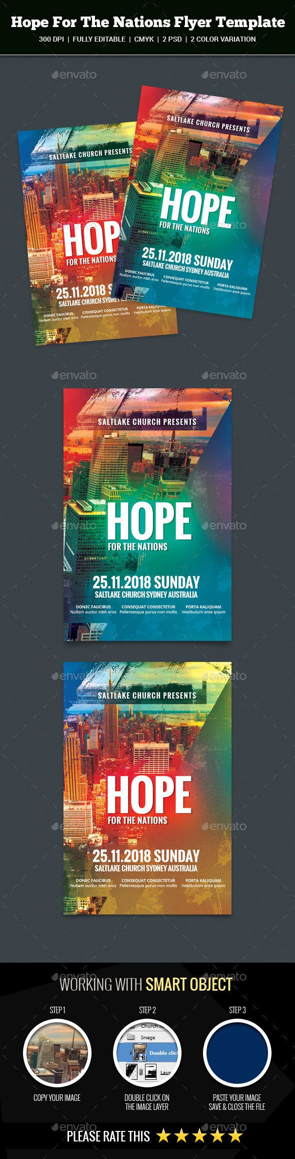 Hope For The Nations Flyer — Photoshop PSD #glory #church • Available here → https://graphicriver.net/item/hope-for-the-nations-flyer/17450137?ref=pxcr