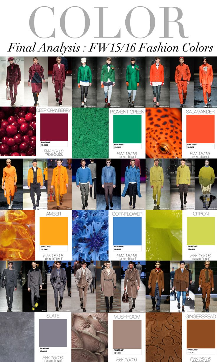 TREND COUNCIL F/W 2015 - 2016 MEN'S COLORS #fashion #forecasting #style