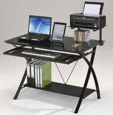 Erma Black Glass Metal Computer Desk Office Desks