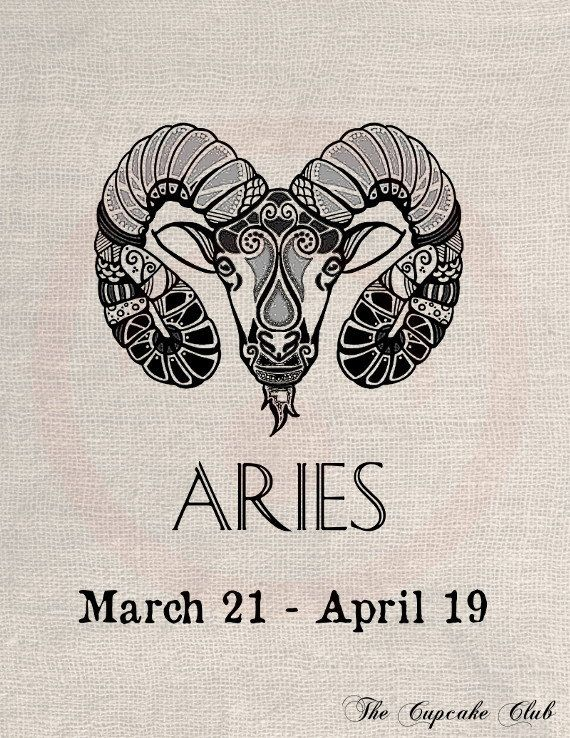 Custom Clip Art Design Transfer Digital File Vintage Download DIY Scrapbook Shabby Chic Pillow Signs of zodiac Aries Astrology No. 0585