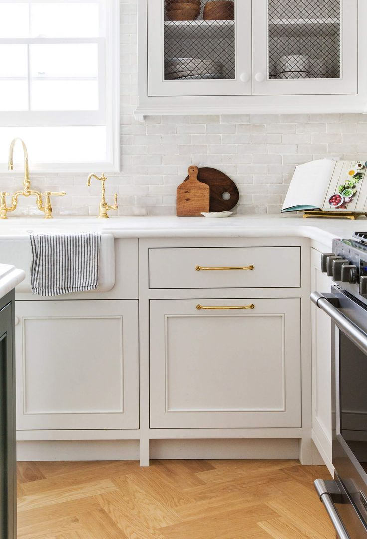Strong White, by Farrow and Ball which is a GORGEOUS taupey-gray white- Our New Modern English Country Kitchen