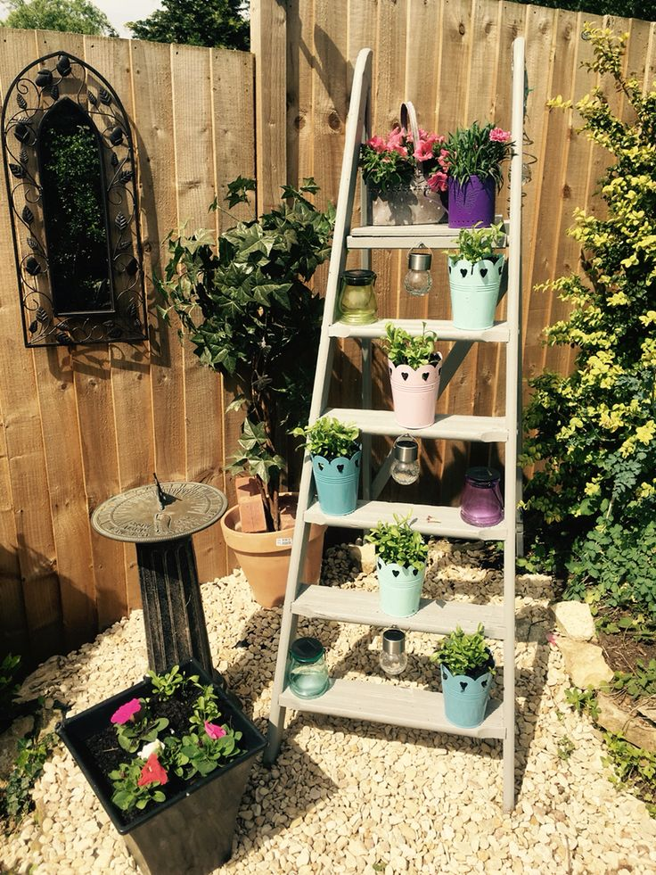 An up cycled vintage ladder makes great garden shelving, fill with trailing plants for lots of colour during the summer!!