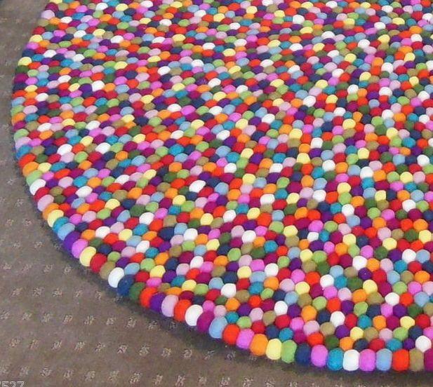 180cm Nepalese Handmade 100% Woolen Colorful Round Felt Ball Rug - Made to Order in | eBay