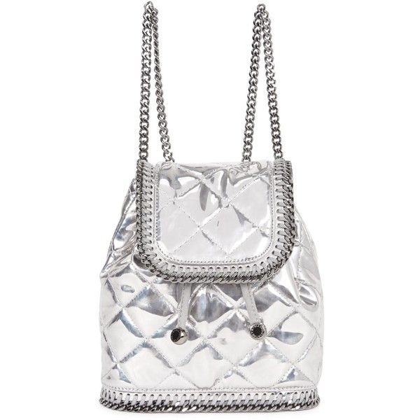 Stella McCartney Falabella Mini Silver Quilted Backpack (1.980 BRL) ❤ liked on Polyvore featuring bags, backpacks, backpack, mini bag, backpack bags, stella mccartney bag, rucksack bags and quilted backpack
