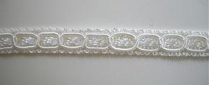 3/8 inch narrow white scroll braid, white 001. Washable. $0.39/yard