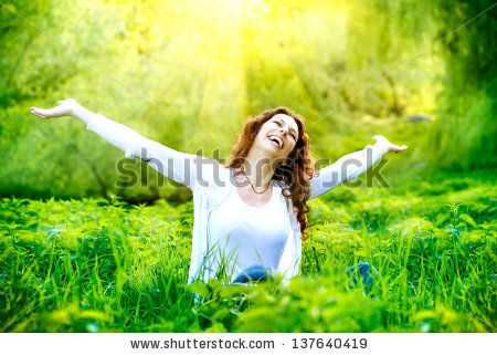 Beautiful Young Woman Outdoors. Enjoy Nature. Healthy Smiling Girl In Green Grass. Stock Photo 137640419 : Shutterstock