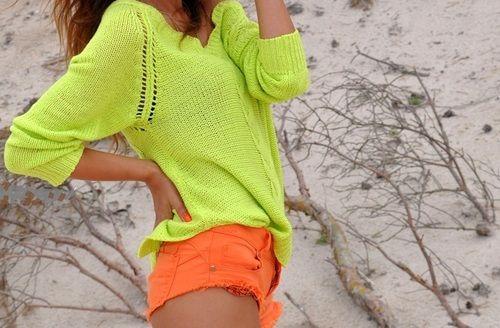 Neon yellow sweater with itsy bitsy teeny weeny neon orange denim shorts! Adorbs!