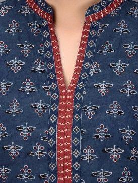 Indigo-Red Dabu-printed Mandarin Collar Cotton Kurta