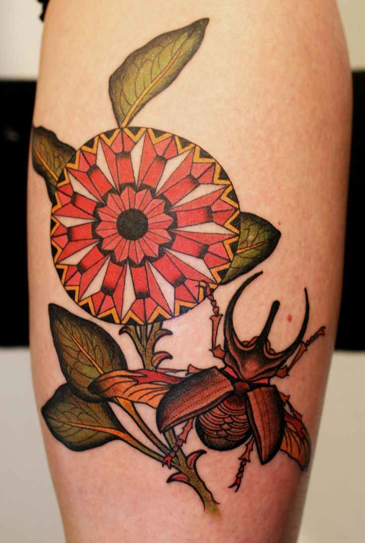 flower and beetle by tattoo stockholm #tattoos
