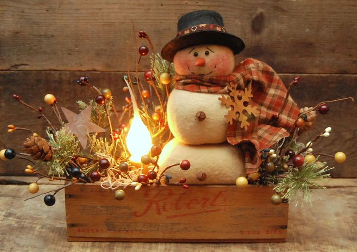 HANDMADE PRIMITIVE  3 Tier SNOWMAN DOLL  Wood CHEESE BOX Electric CANDLE LAMP #NaivePrimitive