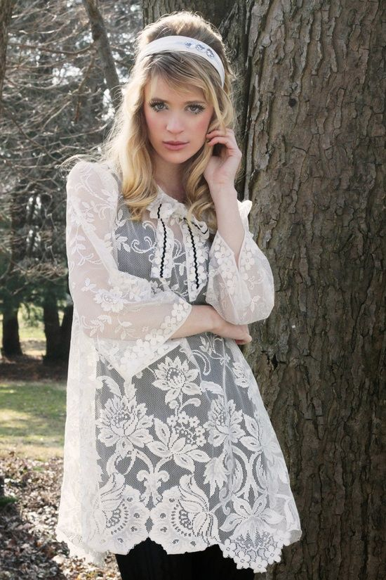 Upcycled Table Cloth Boho Cream Lace Tunic from Vicious Threads