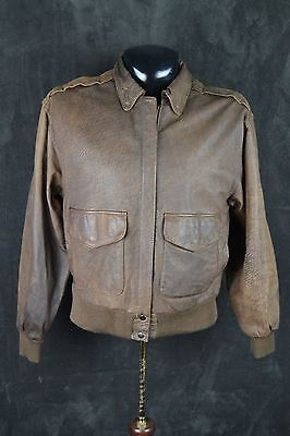 Vtg WILSONS Adventure Bound Distress Leather Flight Pilot Bomber Jacket Small S