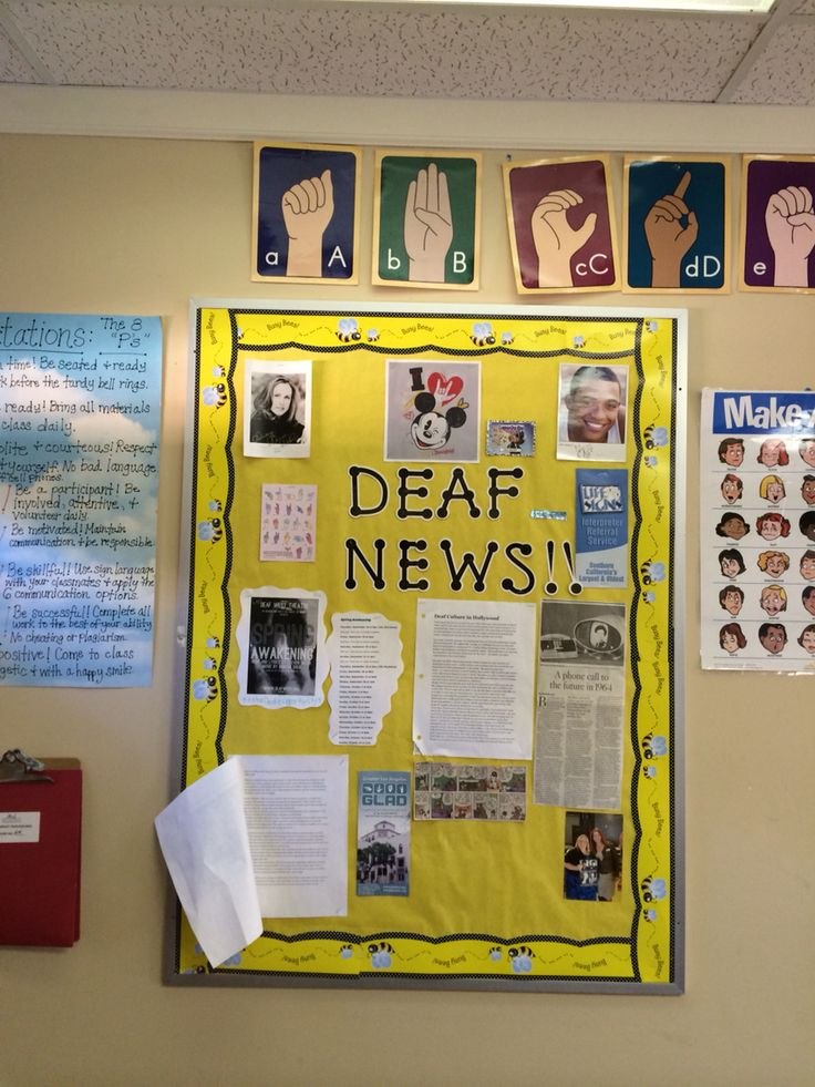 American Sign Language Classroom Decorations ~ Have a bulletin board for students to bring in quot deaf news
