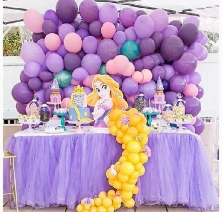 Balloon Backdrop Disney Princess Birthday Party Rapunzel