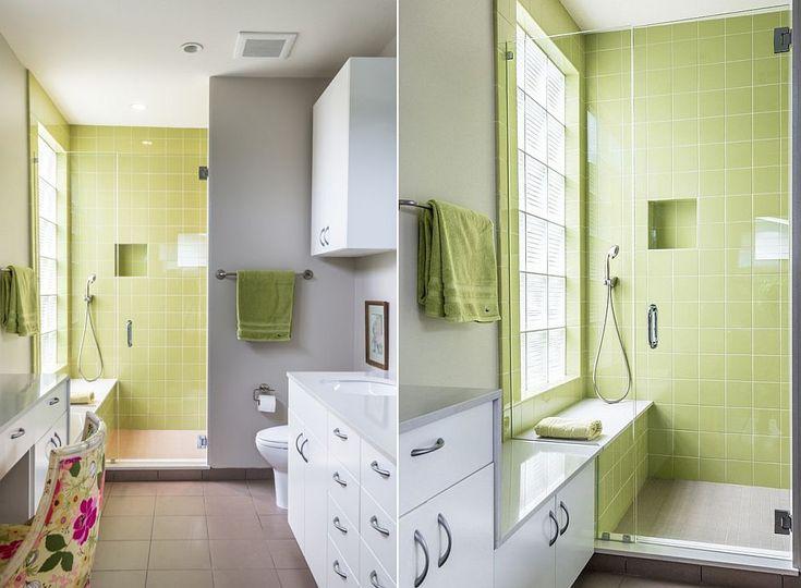 Contemporary bathroom in gray with green shower area [Design: Brett Zamore Design]