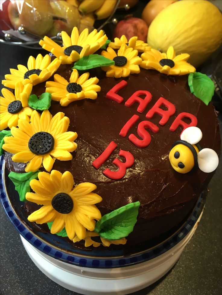My daughter wanted a replica of a cake I made 3 weeks ago for her 13th birthday! A vanilla sponge with jam and buttercream inside covered in chocolate fudge frosting and sugar paste sunflowers and bee!