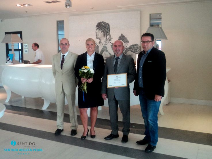 First week of October 2015 ~ Sentido Aegean Pearl receives the Gold Award of Customers Choice of Apollo, ranking #1st in Rethymno, Crete in 2014! Left - Sales & Marketing Manager Mr. Marinos Mavromatakis. Second from the right - General Manager Mr. Yiannis Katsoulis. https://www.facebook.com/SentidoAegeanPearl/photos/pb.198234770217861.-2207520000.1446397028./956644344376896/?type=3
