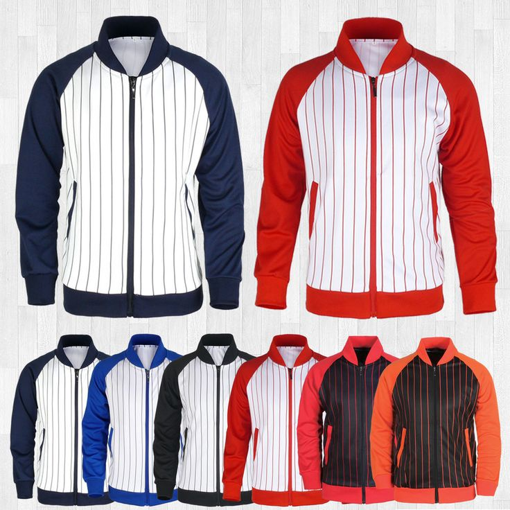 Details about Mens Zip Front Striped Track Jacket Custom Baseball