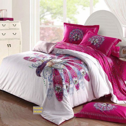 amazoncom diaidi unique peacock bedding sets white pink bedding sets - Bed Set Queen