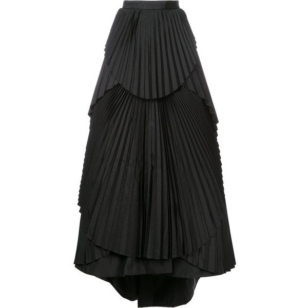 Eavis & Brown Pleated Tiered Maxi Skirt ($10,238) ❤ liked on Polyvore featuring skirts, high-waisted skirts, high waist long maxi skirt, pleated maxi skirt, long pleated skirt and high waisted pleated maxi skirt