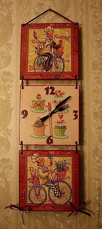 """Купить Часы-панно кухонные """"Французский повар"""" - розовый, часы кухонные, часы настенные"""