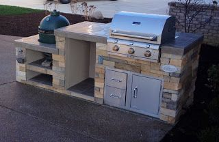 Outdoor Living: Big Green Egg/Smoker and Saber Grill Custom Outdoor Kitchen (couldn't use full stone)