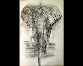 olifant tattoo ontwerp voor het hart chakra-klik op foto fotografie, fotobestand - MyStockPhoto.com