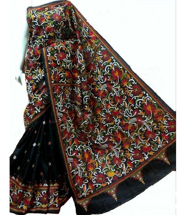 Black Silk Saree-Nakshi Kantha Work LWTS08