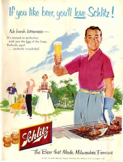 Nothing says masculine style like Schlitz and high-waisted pleats. (1954)