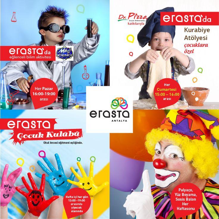 """Hafta içi her gün 13:00-19:00 saatleri arasında tüm minikleri yiyecek alanına """"Erasta Çocuk Kulübü"""" etkinliklerimize bekliyoruz! #erastaavm #erastaantalya #çocukkulübü #etkinlik #eğlence"""