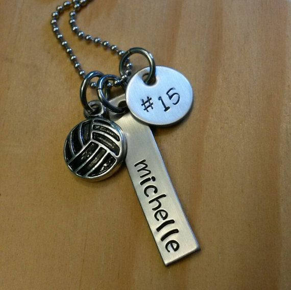 Hand Stamped Personalized Volleyball Necklace Girls