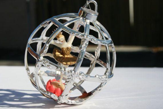 Vintage Ballerina Christmas Ornament Silver by binguspingusart