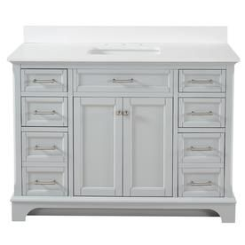 Allen + Roth Roveland Light Grey Undermount Single Sink Bathroom Vanity With Engineered Stone Top (Common: 48-In X 22-In